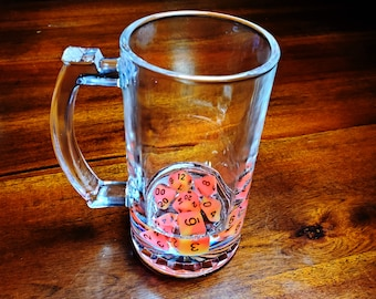 GLOW in the DARK Dice Filled Mini Stein, Whiskey Tumbler, or Stemless Wine Glass