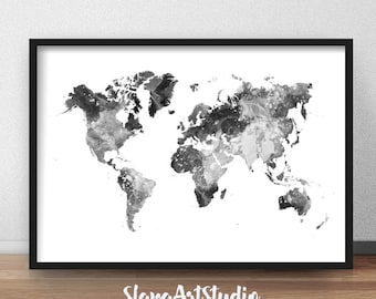 World Map Print, Watercolor Black and White Printable, Map Poster, Map Home Decor, Travel Map Watercolor Poster, Digital Download (D001)
