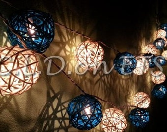 Blue and white rattan string lights Wedding Lights Holiday / Party String Lights 20 lantern