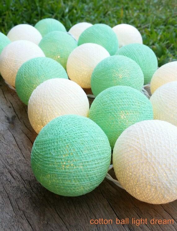 Boules De Coton Vert émeraude Lights20 Ballon String Lumières Pour