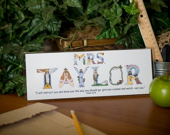 Sunday School Teacher Gift - Personalized Sunday school teacher appreciation gift with desk frame - SHIPPING INCLUDED