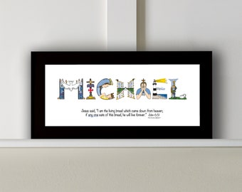 Boys First Communion Gift Personalized - 10x20 Matted Print *Frame Option* from The Christian Alphabet™ - Catholic Gifts