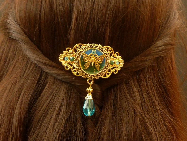Small hair clip with butterfly in gold enamel hair accessory festive gift idea woman