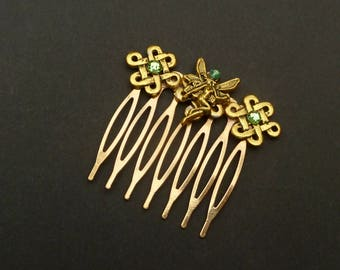 Small hair comb with elf in green gold celtic knots Ireland fairy gift girl
