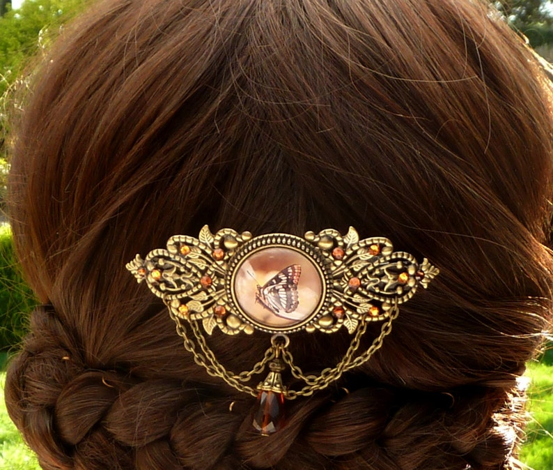 antique style hair jewelry gift for her large hair clip Hair clip with butterfly in brown bronze summer barrette