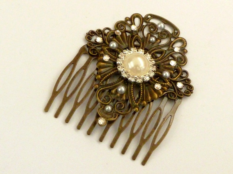 Elegant hair comb in bronze with clear rhinestone wedding hair image 0