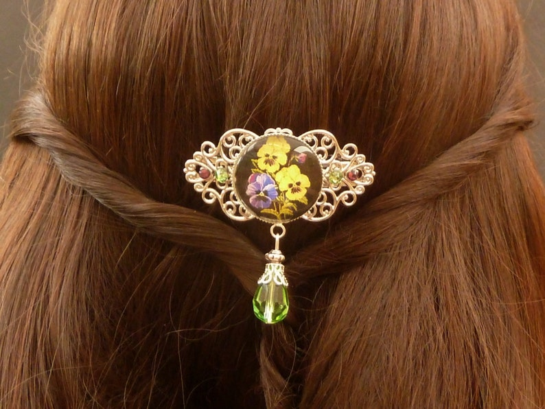 Small hair clip with pansy motif in silver green yellow gift idea woman