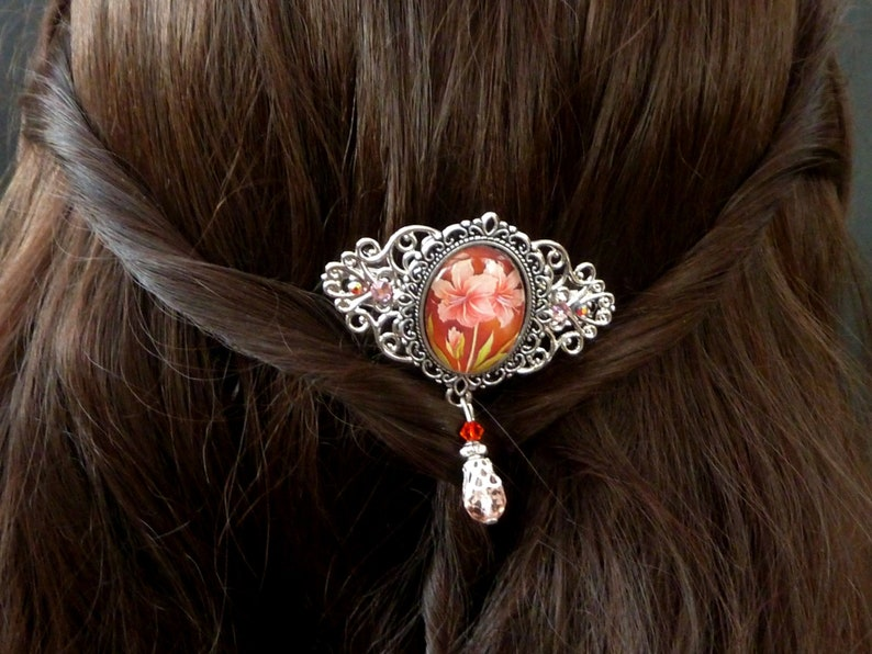 Small hair clip with amaryllis motif in pink silver bridal hair accessories gift idea woman