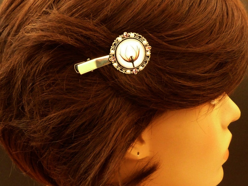 Hair clip with flower in pink silver exclusive hair accessory gift idea girl