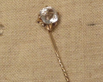 Antique Victorian 10k gold faceted rock crystal stick pin brooch