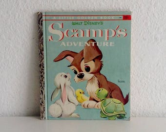 "Vintage Little Golden Book, Walt Disney's ""Scamp's Adventure"" by Annie North Bedford"