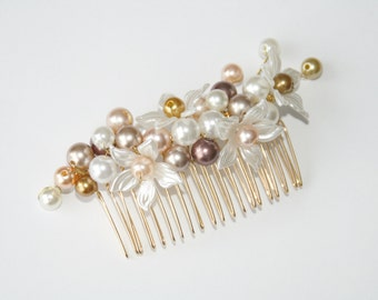 Pearl Blossom hair Comb gold brown