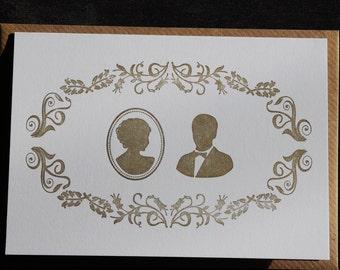 anniversary card. wedding card, golden wedding,  Letterpress hand printed card.
