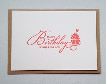 Birthday Card, Letterpress hand printed card