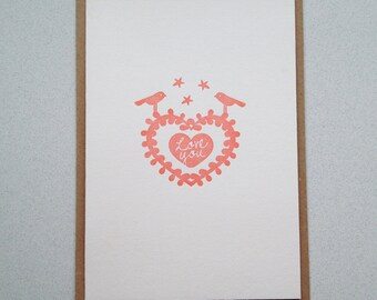 Anniversay card or Gift card for your loved one. Letterpress hand printed card