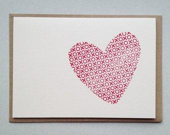 Valentine's card, Anniversay, Letterpress hand printed card