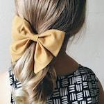 Schoolgirl Hairbow Clip, Boutique Handmade Hair Bow, Mustard Yellow Girls Hair Bow Clip
