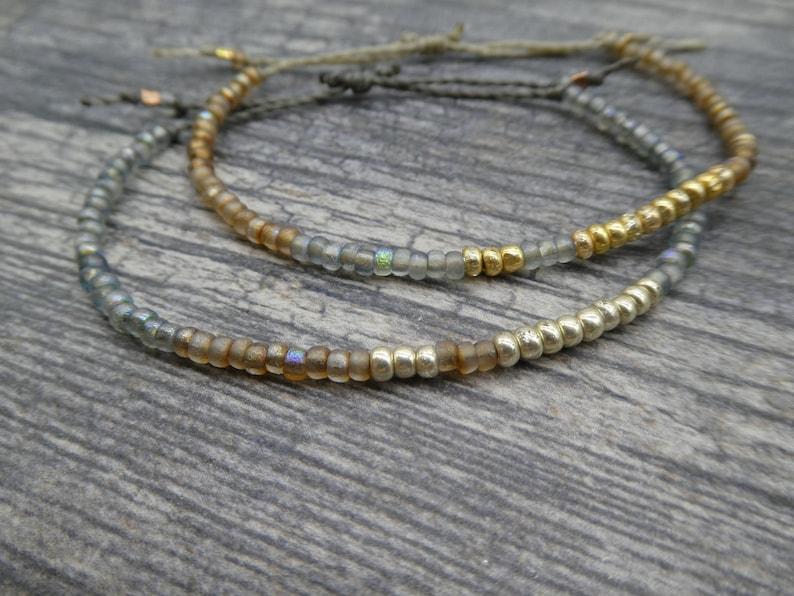 Color Block Seed Bead Friendship Bracelet Beaded Adjustable image 0