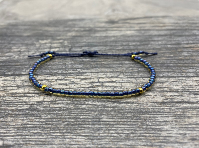 Navy Blue Friendship Bracelet Adjustable Bracelet Glass Bead image 0