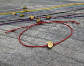 Tiny Heart Bracelet, Valentines Bracelet, Heart Friendship Bracelet, Adjustable Bracelet, Valentines Gift, Tiny Gold Brass Heart Bracelet