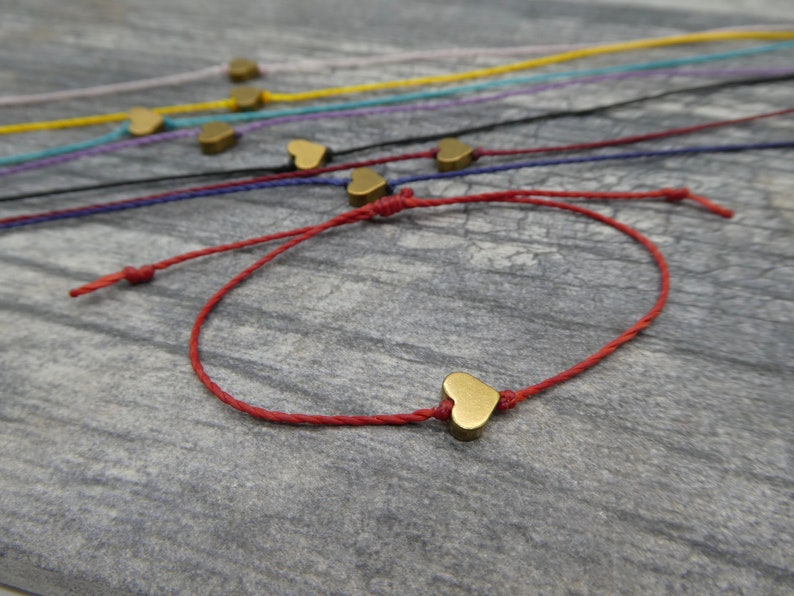 Tiny Heart Bracelet Valentines Bracelet Heart Friendship image 0
