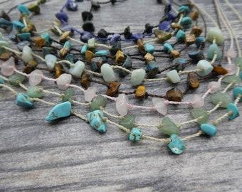 Healing Crystals Choker to Necklace, Rose Quartz, Amazonite, Aventurine, Sodalite, Unakite, Black Obsidian, Tiger Eye, Blue Sky Jasper