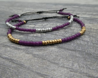 Magenta Beaded Bracelet, Sugar Plum Seed Bead Bracelet, Purple Bracelet, Friendship Bracelet, Accent Bracelet, Fall Color Block Bracelet