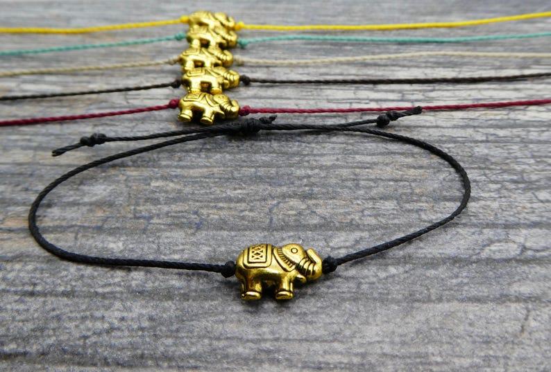 Tiny Elephant Bracelet Lucky Elephant Bracelet Friendship image 0