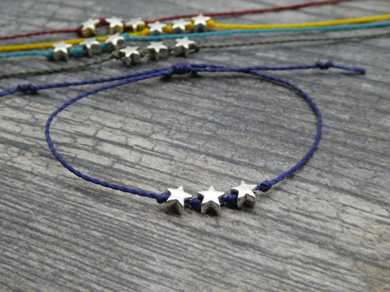 Celestial Night Sky Stars Bracelet Silver Stars Friendship image 0