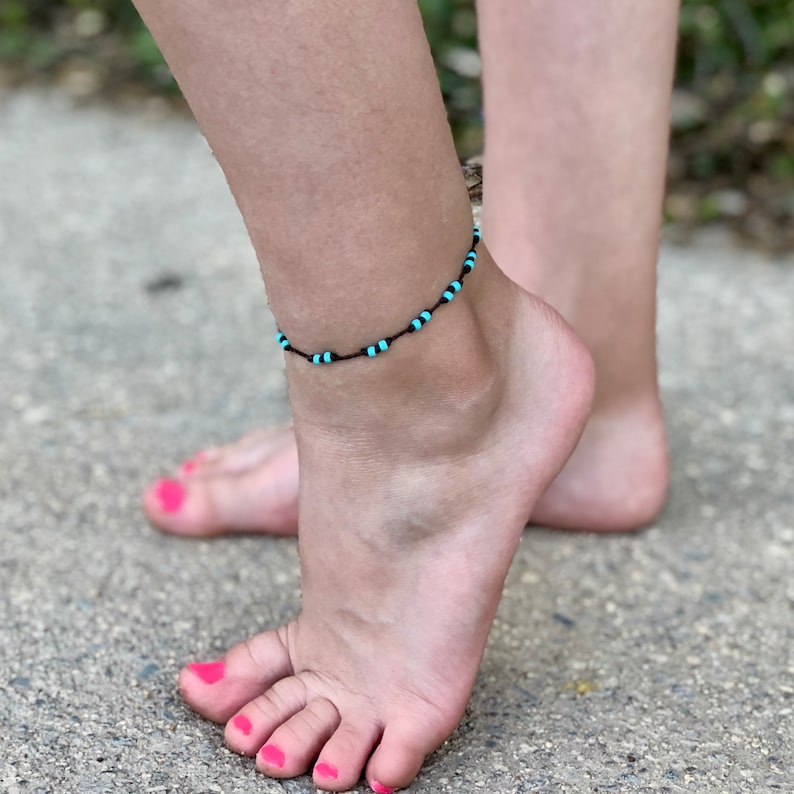 Turquoise Waterproof Anklet Turquoise and Brown Waterproof image 0