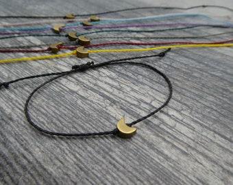 Tiny Moon Bracelet, Crescent moon jewelry, Crescent Moon Bracelet, Celestial Friendship Bracelet, Bracelet with Card, Sliding Knot Bracelet