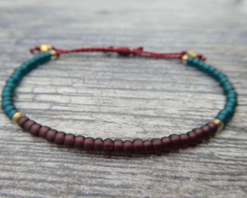 Maroon and Teal Seed Bead Bracelet / Adjustable Friendship image 0