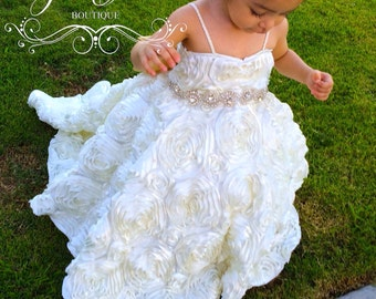 1633f3c8f00 Baptism Dress - Mini Bride Dress - Flower Girl Dress - Rosette Dress - Big  Bow Dress - Wedding Dress - Sunday Rose by Zulett Couture