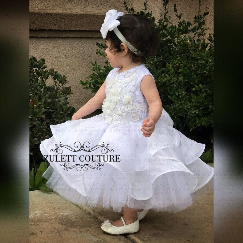 39d032d9cca9 Baptism Dress Mini Bride Dress Flower Girl Dress Rosette | Etsy
