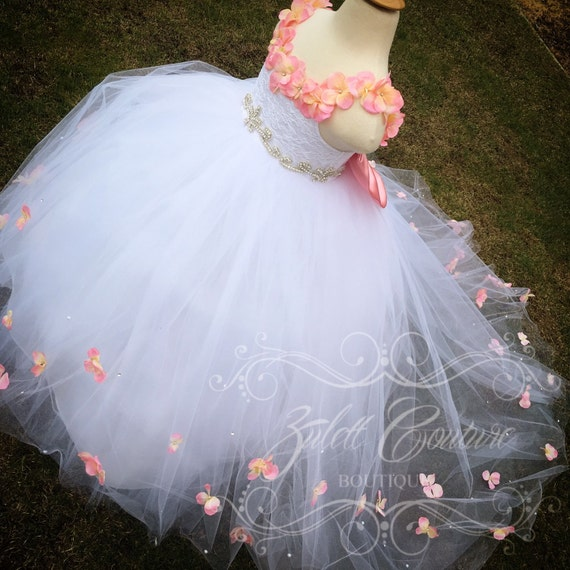 Lace Dress Birthday Dress Baptism Dress handmade Flowers Antonella Dress by Zulett Couture Baptism Dress Sequin Girl Dress