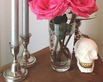 Handmade White and Gold Skull, Sugar Skull Decor, Skull Decor, Halloween Decor, Decorative Skull, Gothic Glam Home Decor,