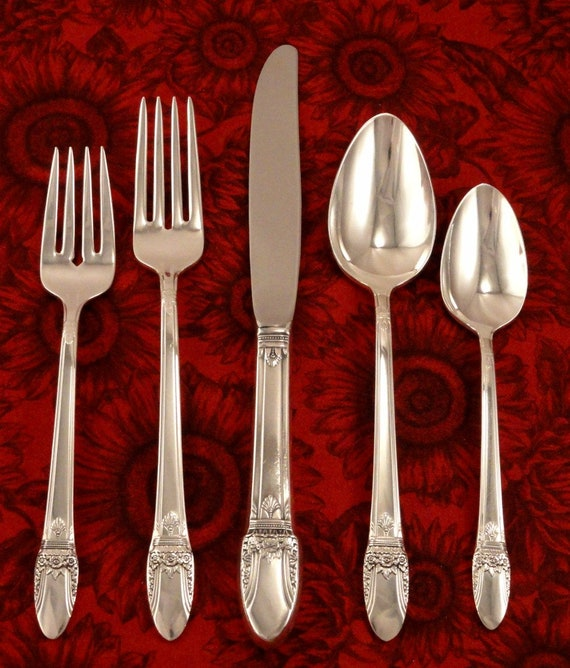 """4 FIRST LOVE 1847 Rogers Bros Silverplate Salad Cake Fork ART DECO 6 7//8/"""""""