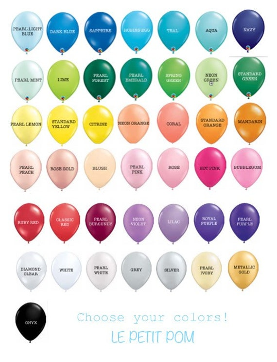 Colorful Solid Latex Balloons Balloon Color Chart 12 Inch Etsy