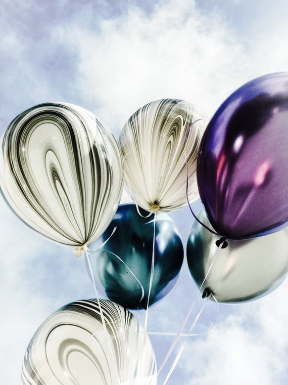 8 space themed party balloons in chrome, marble and metallic colors