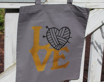 """Shopping bag """"LOVE"""" - Canvas bag - Shopping bag - Handle bag with long handles, perfect for shopping, with funny saying"""