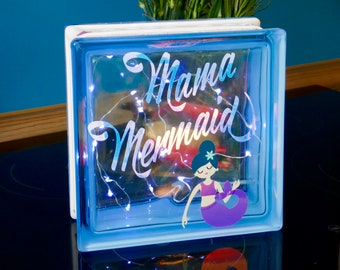 """Illuminated Glass Block """"Mama Mermaid"""" Gift for Mother's Day - Decoration for Home - Indirect Light - Light Decoration"""