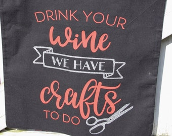 """Shopping bag """"DRINK YOUR WINE"""" - Canvas bag - Shopping bag - Handle bag with long handles, perfect for shopping, with funny saying"""