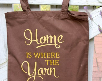 """Shopping bag """"HOME is WHERE the YARN is"""" - Canvas bag - Shopping bag with long handles, perfect for shopping, with funny saying"""