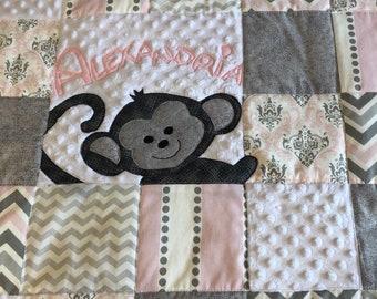 Custom Order Blue Sock Monkey Baby Quilt Set