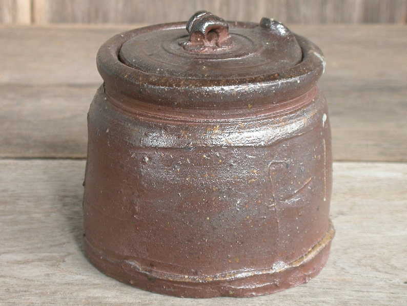 Herb Storage Japanese Ceramics Small Pot Ceramic Pot Made In Japan. Handmade Ceramics Brown Canister Ceramic Canister with Lid