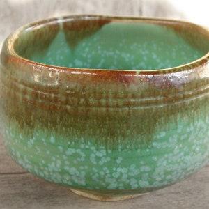 Japanese Brown Green Square Serving Bowl