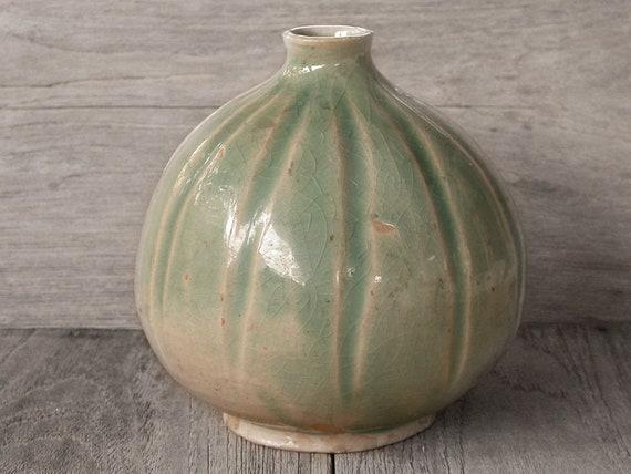 Vintage Vase Japanese Ceramics Ceramic Vase Green Vase Etsy