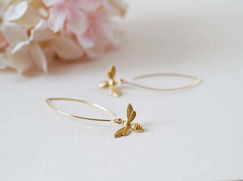 Honey Bee Long Dangle Earrings Bee Jewelry Spring Summer Christmas gift for women mom girlfriend wife daughter Gold Bee Earrings