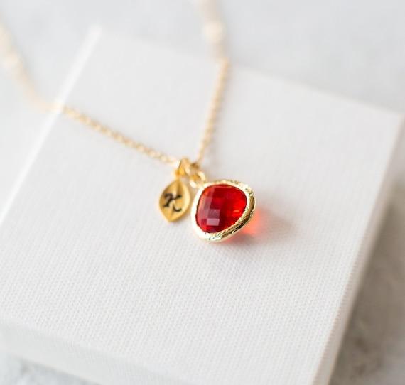 January Birthstone Garnet Necklace Gold Personalized Initial Necklace Garnet Jewelry Jewellery Personalized January Birthday Gift for Her