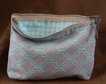 Makeup/Cosmetic Bag - Gray/Aqua